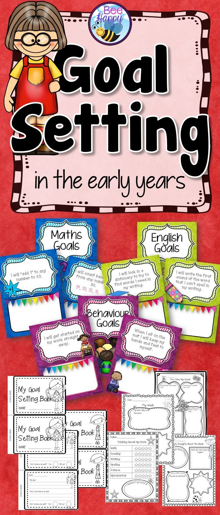When children first start the process of goal setting they need a lot of help and guidance to set SMART goals - Specific, Measurable, Achievable, Realistic and Timely goals. These goal sheets will assist you, the teacher, to introduce them to this process. Included are goal sheets for Math, English and Behavior, reflection sheets, goal books and teacher record sheets.