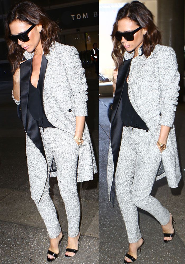 Victoria emerged from LAX in an outfit almost entirely from her personal fashion line, Victoria Beckham