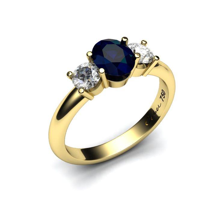 Ring 14 karaat geelgoud met blauwe saffier en diamanten