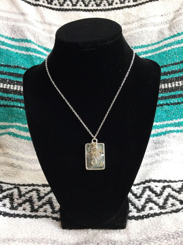 Excited to share the latest addition to my #etsy shop: Seahorse Aquamarine Mother of Pearl Amazonite Orgone Tower Buster Pendant Necklace with Charm- 925 O Link Necklace Chakra Healing Meditation