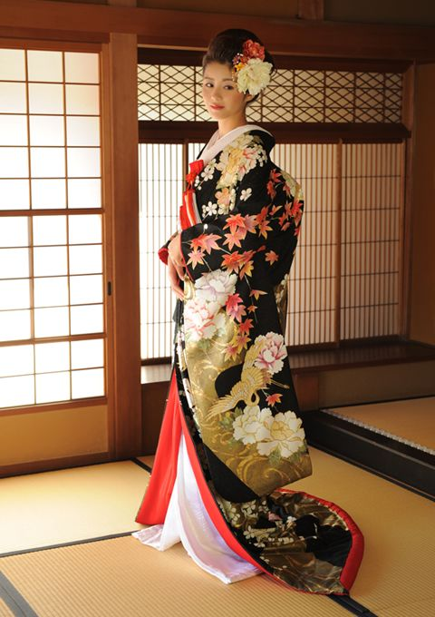 Modern formal kimono with crane, chrysanthemum, and maple leaf pattern