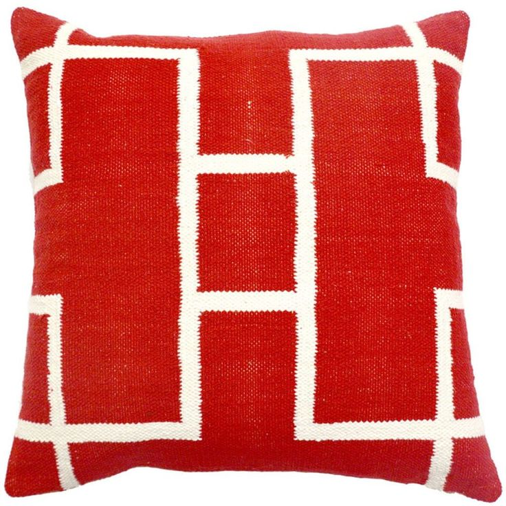 Heritage Red Decorative Woven Throw Pillow