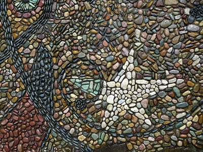 Detail of a mosaic called Cyphers and Constellations in Love with a Woman