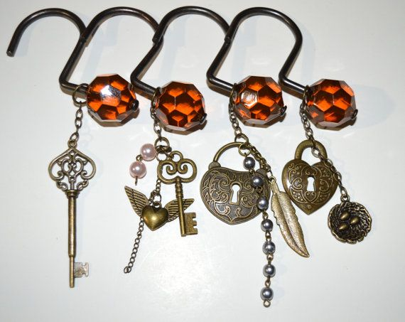 Victorian Shower Curtain Hooks Handcrafted, Key to My Heart II, Lock Bird's Nest Feather Arrow Pearl Crystal Amber Facet Ball Antique Brass