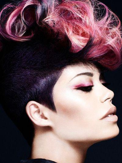 Multiple Pink Hair Highlights