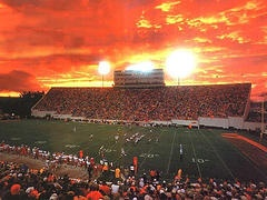 Lane stadium for Virginia tech football games. This particular picture was taken on a Thursday night game vs Boston College when the sky turned orange and maroon <3