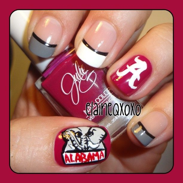 Why can't i paint my nails like this?? I love it!! alabama crismon tide by elaineqxoxo #nail #nails #nailart