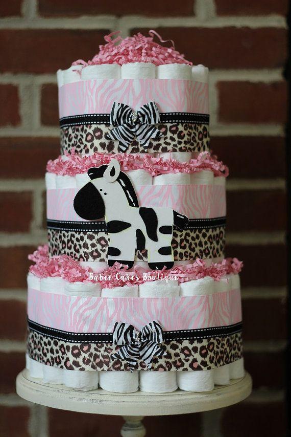 3 Tier Pink Safari Diaper Cake Baby Girl By BabeeCakesBoutique
