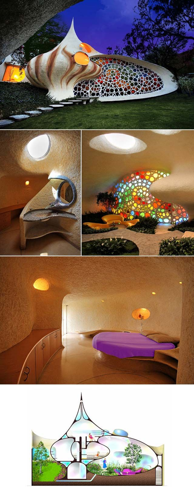 Nautilus House, Mexico City. A group of nature inspired houses, as beautiful and original inside as outside. By architect Javier Senosiain of Arquitectura Orgánica (more: arquitecturaorganica.com)