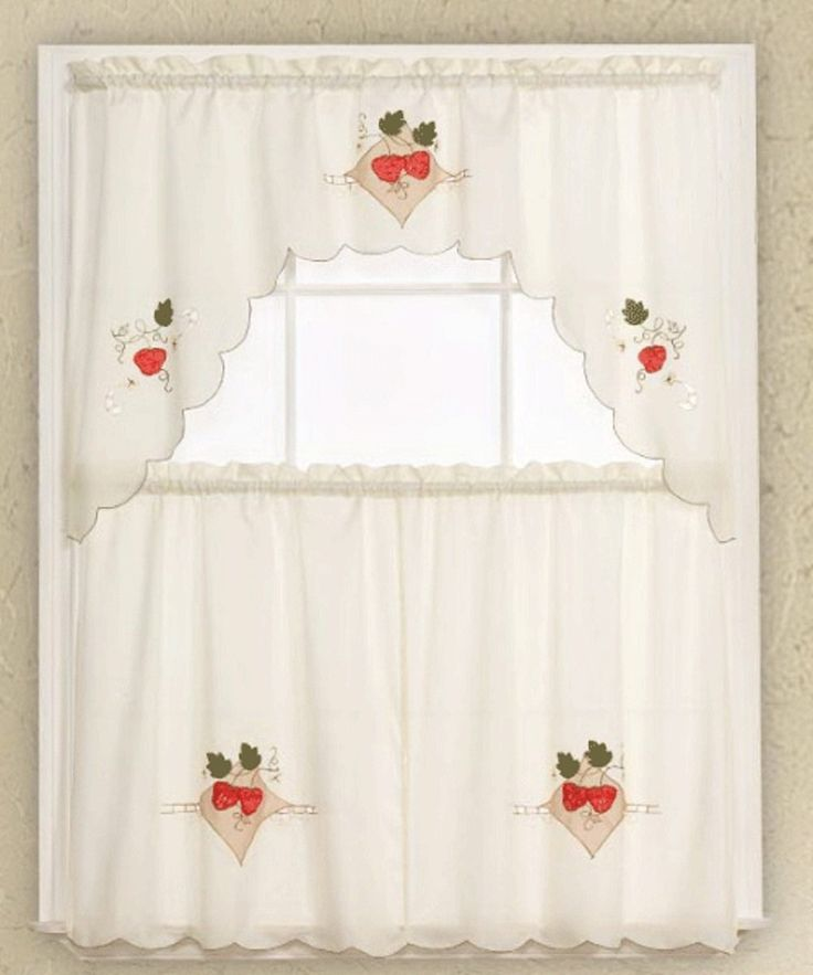 3piece beige with strawberry kitchen curtain /cafe tier and swag set | strawberry kitchen