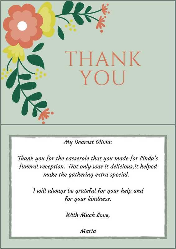 Sample wording for funeral thank you notes for contributions of food at a funeral reception. #loveliveson