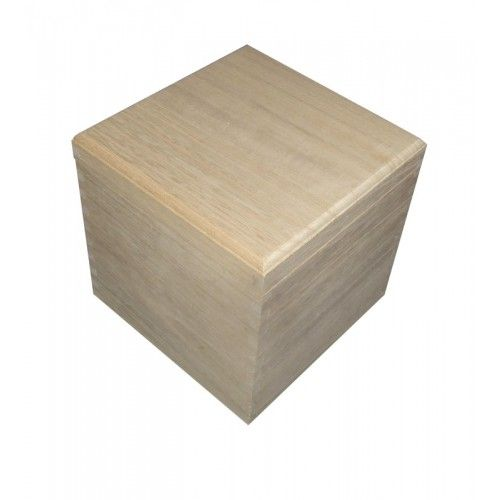 X-Large 20cm Wooden Cube Square Box with Removable Lid - Square & Rectangular Boxes - Plain Wooden Boxes | The Wooden Box Mill
