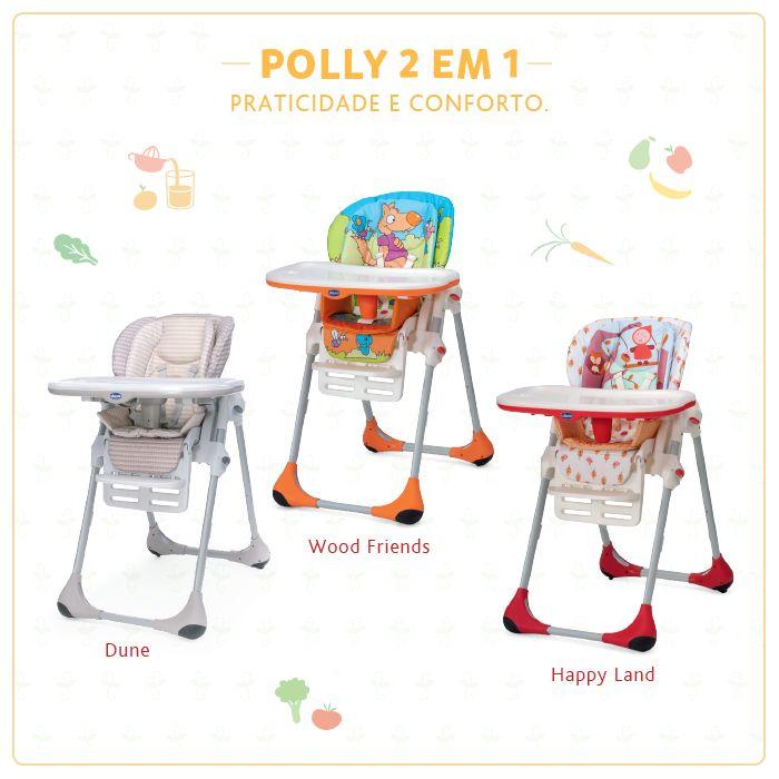 Praticidade e conforto nos momentos mais especiais do seu bebê. Para bebês de 6 a 12 meses, a cadeira de alimentação Polly 2 em 1 é ideal para as primeiras papinhas, além de ser super fácil de limpar,  possui um redutor acolchoado que garante o máximo conforto.  Possui 7 posições diferentes de altura. É possível utilizá-la como uma cadeira de sociabilização da criança à mesa durante as refeições familiares. Polly 2 em 1: a cadeira que acompanha o crescimento do seu filho!