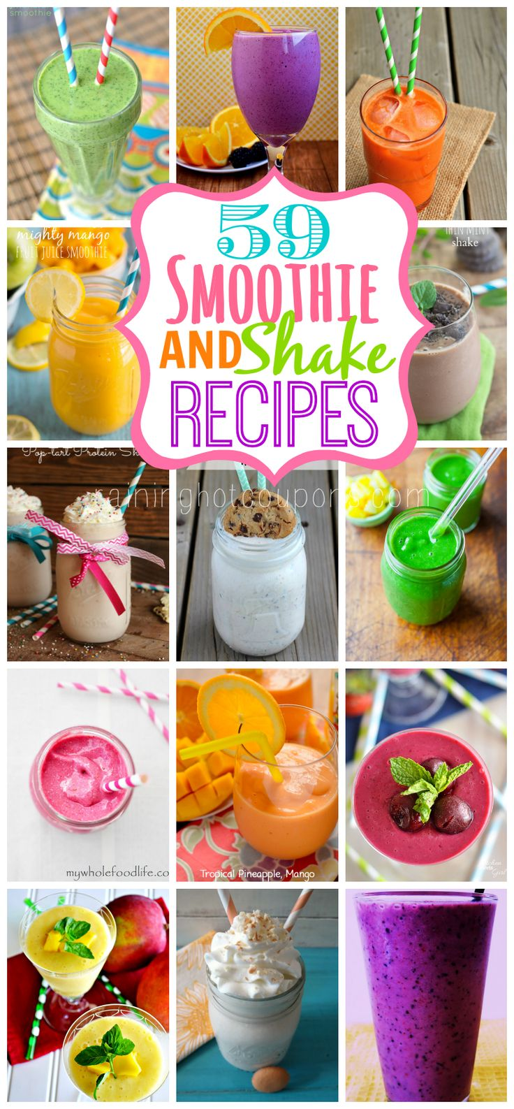 Since I'm having smoothies for breakfast and lunch these days... 59 Smoothie and Shake Recipes