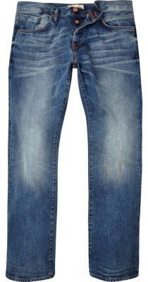 River Island MensMid blue wash Clint bootcut jeans