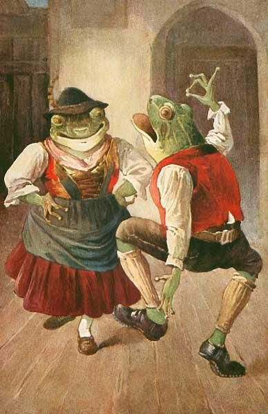 MAGNET FROM VINTAGE POSTCARD FROGS SKATING HUMANIZED