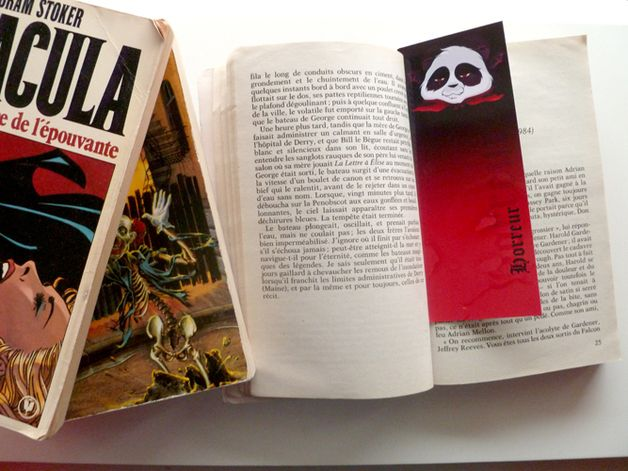 Scary gifts at DaWanda - Bookmark of BambooD'Choo, my little panda, represents horror literature.  You can find other literary types,  the seven deadly sins and a lot of other bookmarks in my shop !   via en.dawanda.com