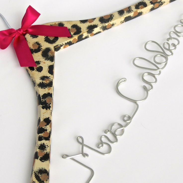 Personalized Wedding Dress Hanger, Custom Hanger, Cheetah Print, Animal Print, Bride Hanger, Leopard Print by EricaMayMade on Etsy
