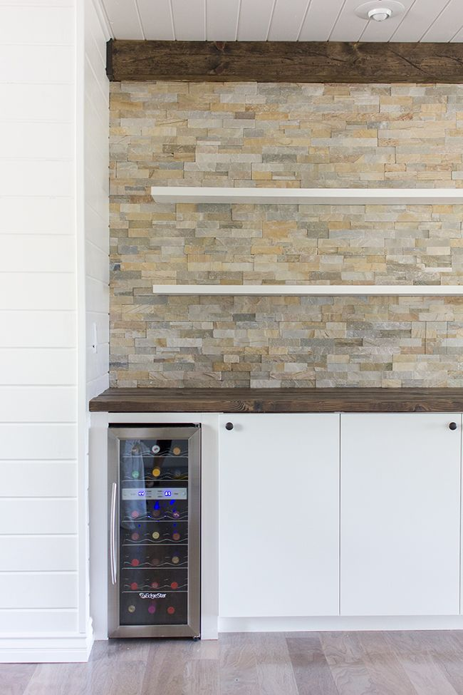 Kitchen Chronicles: Stacked stone bar wall & DIY floating shelves | Jenna Sue Design Blog