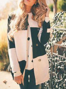 White Black Long Sleeve Color Block Coat EUR€27.15
