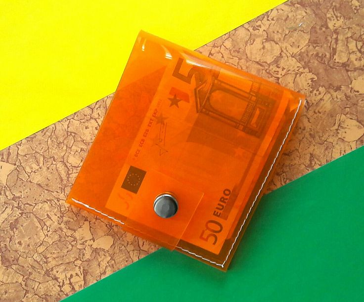 Orange clear wallet, vinyl cute ID holder, transparent credit Card holder, vegan orange wallet, clear mens wallet, simple card holder, 90s by YPSILONBAGS on Etsy