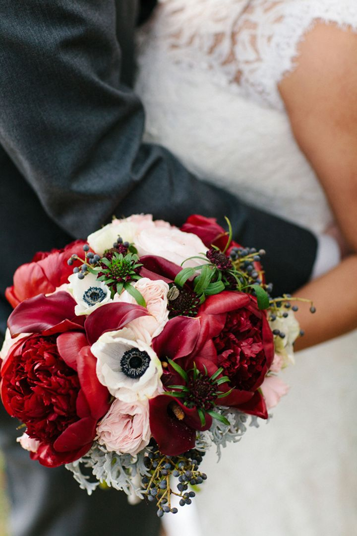 Winter Wedding Bouquet of Deep Red Peonies & White Anemones with a smattering of Pink Roses - Mon Cheri Bridals