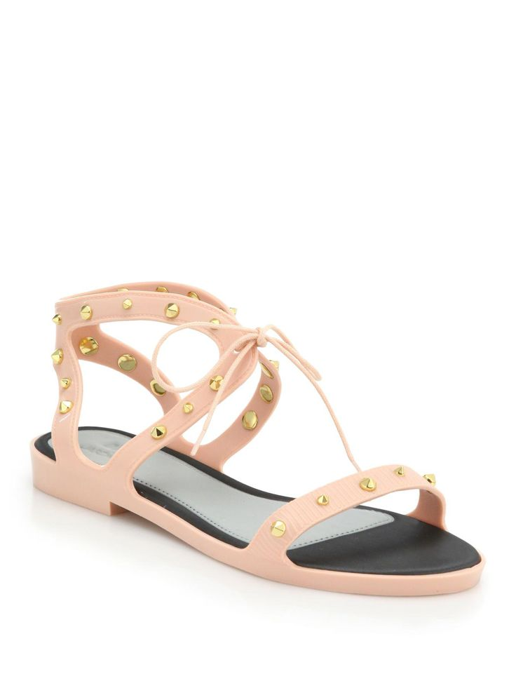 Melissa Studded Lace-Up Plastic Sandals in Pink (BLUSH)