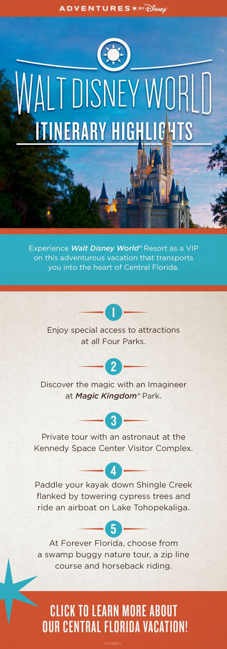 Experience the magic of Walt Disney World, venture in the natural waterways of Old Florida, and spend the day with an astronaut at the Kennedy Space Center Visitor Complex on our new Central Florida vacation!