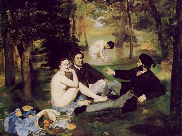 """에두아르 마네, """"풀밭 위의 점심"""", 1863, 캔버스에 유채, 오르세 미술관.    인상주의의 아버지로 일컫어지는 마네의 작품이다. 가식적인 프랑스 사회의 이중적 도덕성을 풍자한 그림인데, 과거와 변화된 여성을 묘사하고 있다.     입을 벌린 채 누군가를 대놓고 쳐다보는 우아하지 못한 표정, 여신이 아님에도 불구하고 아무 천도 걸치지 않은 데다가 접친 뱃살과 두터운 다리를 그대로 드러내놓은 모습이 충격적이다. 그림 속 여성은 전혀 아름답게 그려지지 않았다.  보수적인 관객들이 질색을 하며 싫어하기에 아주 알맞은 작품이다. 구도는 지극히 고전적이지만, 사실적인 여인의 누드는 너무도 자극적이다. 이 그림속 여인의 '추'는 마네가 활동하던 당시 권위를 누리던 살롱에 대한 일종의 공격이라고 할 수 있겠다."""