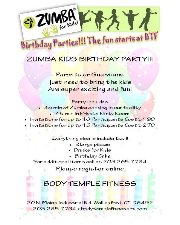 Kids Zumba Birthday Parties. You Bring Your Child, WE Do The Rest!!