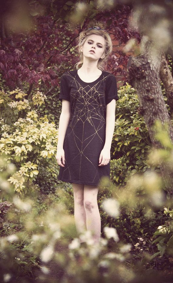 Hand Painted golden geometric dress by WeAreHairyPeople on Etsy