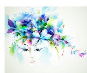 Piękne kobiety twarz z akwareli kwiat wektora 03