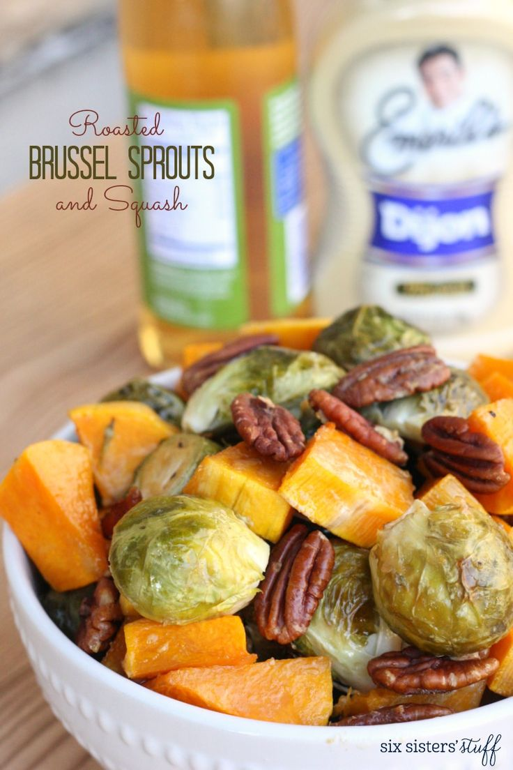 Roasted Brussel Sprouts and Squash in Dijon Vinaigrette on SixSistersStuff.com
