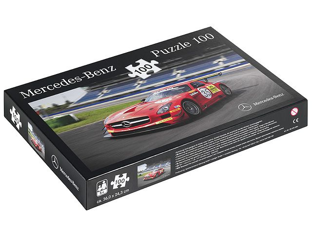 Jigsaw puzzle B66952281 Jigsaw fun for all ages: the motif of this 100-piece jigsaw is the Mercedes-Benz AMG SLS GT3.  Jigsaw fans aged 5 and over are sure to enjoy piecing it together.  Not suitable for children under the age of 3 - small parts may pose a choking hazard.  - Size of jigsaw approx. 36 x 24.3 cm  - Size of packaging approx. 27 x 19.1 x 3.6 cm