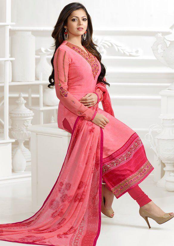 Drashti Dhami Pink Pure Crepe Suit