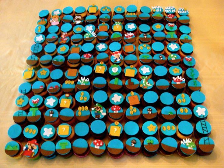 Partida de Mario Bros hecha con cupcakes.