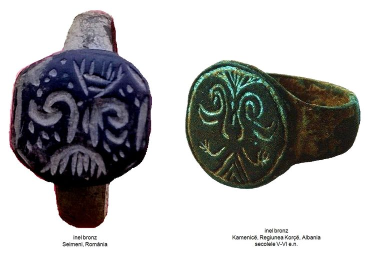 Inelul din bronz de la Seimeni şi inelul din bronz descoperit la Kamenicë, Albania, datat în secolele V-VI e.n.