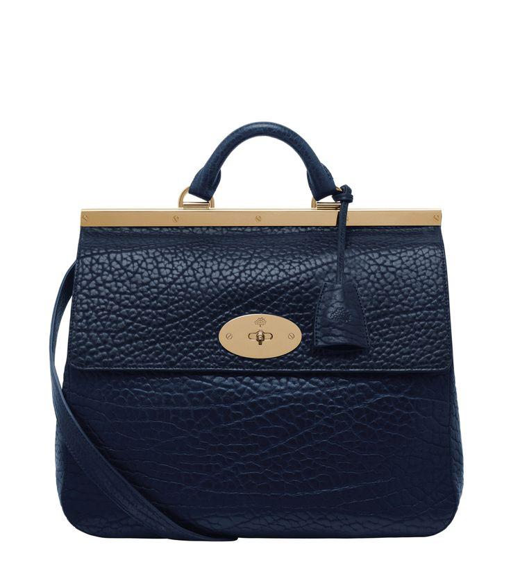 Gorgeous! Mulberry Suffolk in Navy Blue Shrunken Calf – #ShopBAZAAR #handbag #purse