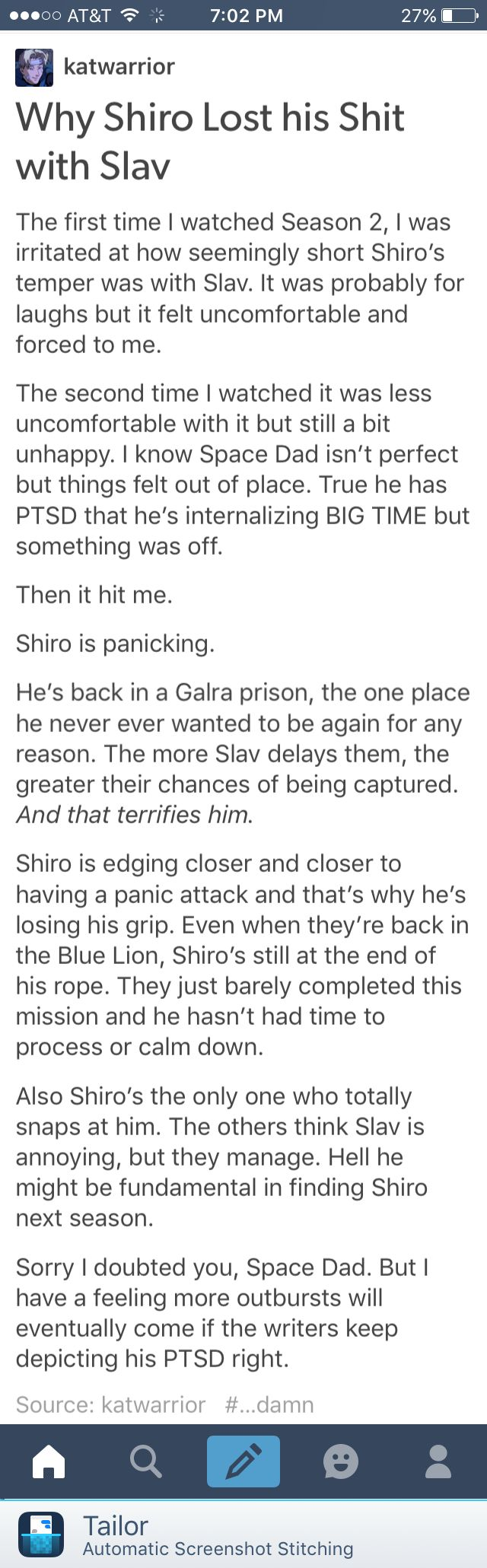 I always thought it was weird that Shiro, a patient and good person would always be snapping at him. I had a similar theory to this