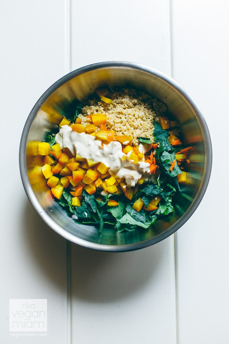 #Vegan #GlutenFree #Soyfree Roasted Golden Beetroot, Quinoa & Kale Salad with Zesty Tahini Dressing, Carrots and Crushed Hazelnuts | vegan miam