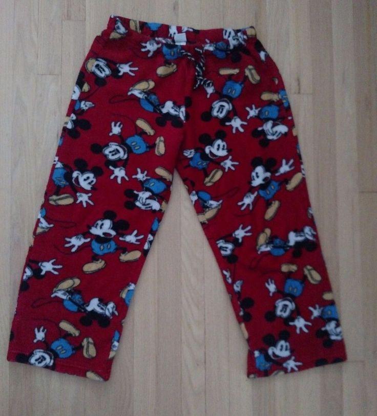 Disney Mickey Mouse Adult Pajama Pants Size Medium Heavy Flannel Red  Blue Yello #Disney #PajamaBottoms #Sleepwear