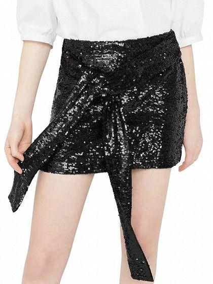 Black Sequin Bow Tie Front Mini Skirt