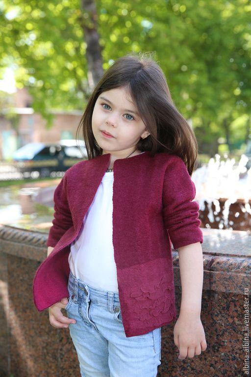 Купить валяный жакет для девочки - бордовый, однотонный, детская одежда, Детский жакет, валяный жилет