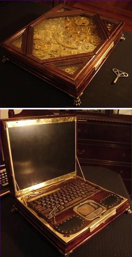 Inside this hand-crafted wooden case lives a Hewlett-Packard ZT1000 laptop that runs both Windows XP and Ubuntu Linux. Nerd!