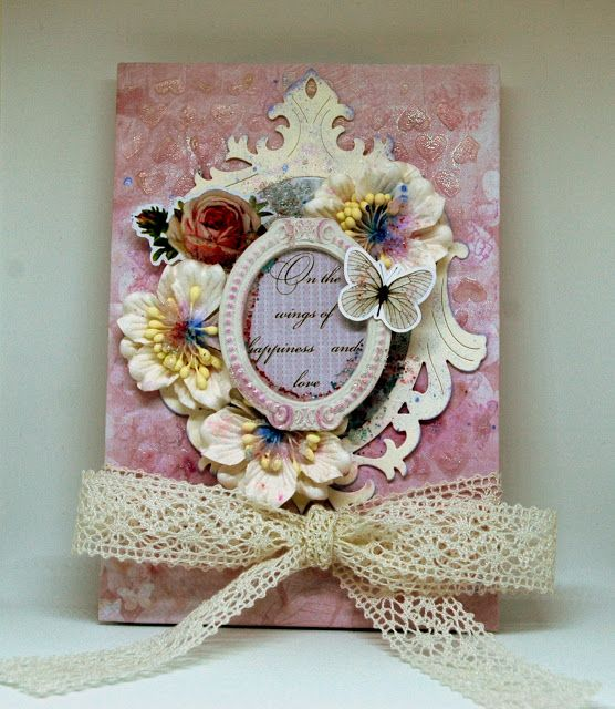 ScrapBerry's: A pink mini album  by Valia Katzaki with our Butterflies collection and some matching embellishments: FAIRYTALE stamp, Heart stencil, white Gardenia and resin frame - all ScrapBerry's