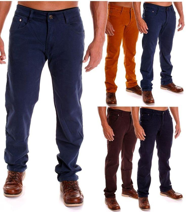 Herren Chino Freizeits Hose Straight Cut Stretch Relaxed Designer Hosen SALE | eBay
