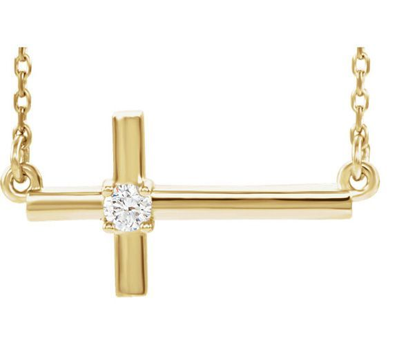 1 10 Carat Sideways Cross Necklace 14k Yellow Gold Cross Necklace Sideways Cross Necklace 14k Yellow Gold