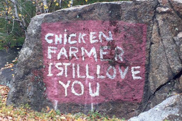 A strange, heartwarming, decades-old declaration of love on a New Hampshire roadside.