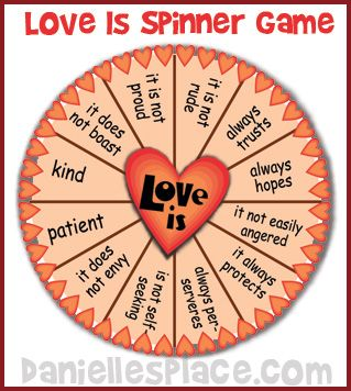 Love Is Spinner Game for Sunday School on www.daniellesplace.com