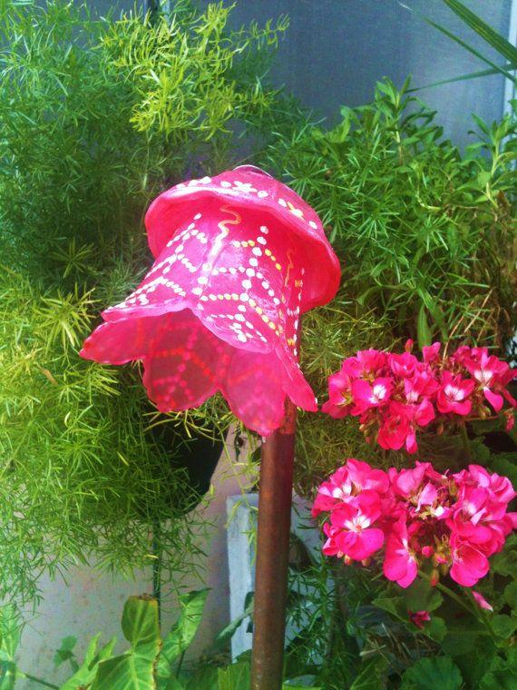 Glass Plate Flowers For Your Spring Garden Decor By Pollysyardart, $25.00